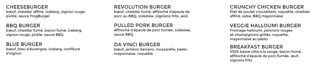 Our burgers list